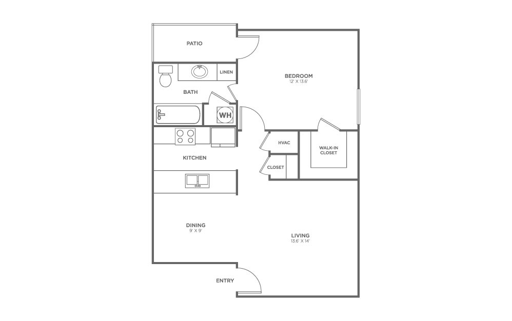 1 BEDROOM - 1 bedroom floorplan layout with 1 bath and 687 square feet.