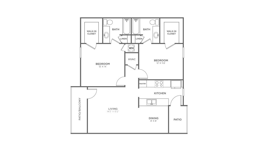2 BEDROOM - 2 bedroom floorplan layout with 2 baths and 970 square feet.